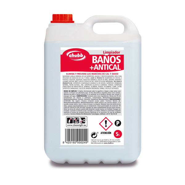 Detergente de Limpeza de Casas de Banho Anti-calcário 5L